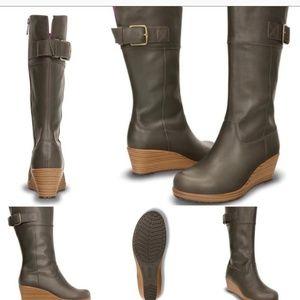 Crocs brown leather boots, wedge heel